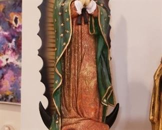 Carved Wood Our Lady Of Guadalupe. Bareggio Collection