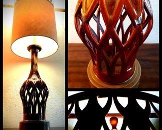 RETRO pierced ceramic lamp with original pierced shade