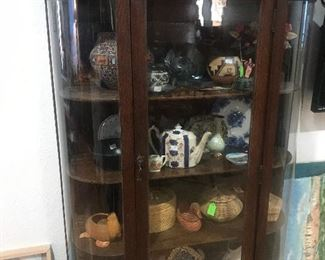 Antique China Cabinet with Carved Doors