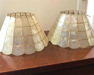 Pretty pair of brass and shell lampshades.