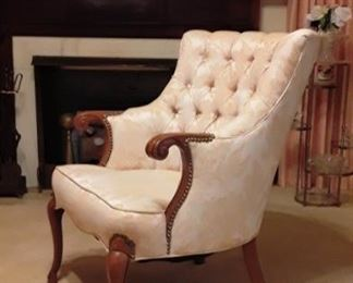 1950's Button & Tufted Wing Chair
