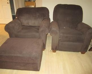 PAIR OF SIDE CHAIRS AND OTTOMAN