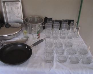 GLASSWARE AND PANS AND SKILLETS