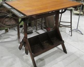 Vintage 1920's-30's Hamilton Drafting Table with metal book holder, foot rest and metal side caddy