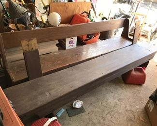 original Moravian benches, back piece available just unattached