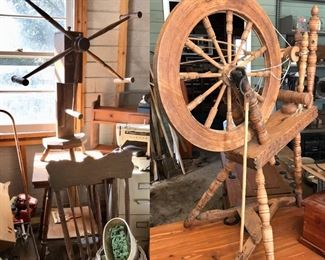 antique handcrafted spinning wheel, connected to Leinbach family