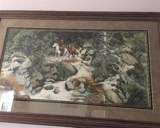 "Very large Bev Doolittle signed and numbered print ""Hills Have Eyes""."