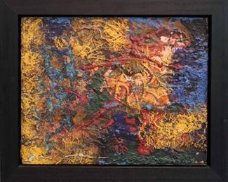 """""""Sunset"""", 1973. Acrylic & Silica on Panel entitled """"Sunset"""", in Weinstein Gallery float frame. Signed verso, dated 1973. Image measures 20"""" x 16"""" high, framed 24 ½ """" x 24 ½"""". Reference #K.24"""