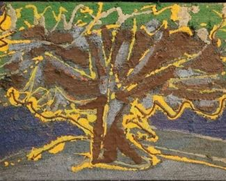 """""""Arbre"""", 1965. Acrylic & Silica on Jute entitled """"Arbre"""" in artist-made float frame. No visible signature, dated 1965. Image measures 24"""" x 16"""" high, framed 25"""" x 17 ½"""". Reference #K.33"""