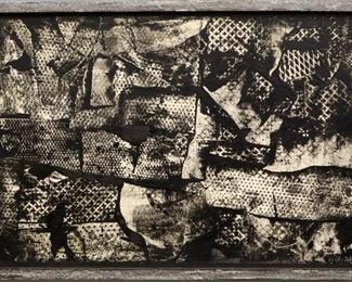 """""""Patterned Grid"""", 1980. Acrylic on Paper mounted on Canvas titled """"Patterned Grid"""" in artist-made frame. Signed lower right, dated 1980. Image measures 36"""" x 24"""" high, framed 38"""" x 26"""". Reference #K.36"""