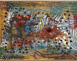 """""""Untitled"""", circa 1960s. Acrylic and Coal chips on Shaped Styrofoam. Signed upper left, dated 1960s. Image measures 22 ½"""" x 21"""" high, framed 23 ¼"""" x 31 ¼"""". Reference #K.38"""