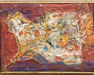 """""""Impression"""", 1954. Polyester on Panel mounted on Jute entitled """"Impression"""". No visible signature, dated 1954. Image measures 14"""" x 10"""" high, framed 15"""" x 11"""". Reference #K.40"""