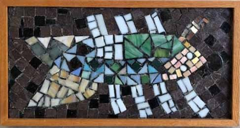 """Herald"", 1991. Glass & enamel mosaic assemblage on Cement board entitled ""Herald"". No visible signature, dated 1991. Image measures 8 ½"" x 19 ½"" high, framed 10 "" x 21"". Reference #K.44"