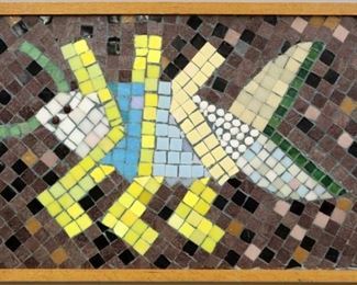 """""""Dotted Ground"""", 1991. Glass & enamel mosaic assemblage on Cement board entitled """"Dotted Ground"""". Signed verso, dated 1991. Image measures 25 ½"""" x 15 ½"""" high, framed 26 ¾"""" X 16 ¾"""". Reference #K.41"""