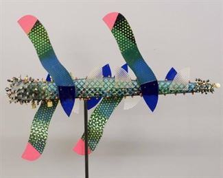 """""""Blue Twister"""" Sculpture. Mixed media sculpture, entitled """"Blue Twister"""". Multi-color painted wooden body with applied beads, enamel and lucite. No visible signature, numbered """"546"""". Minor surface wear, ½ """" hole drilled in underside for display mounting. Measures 30"""" x 22"""" high. Reference #K.51"""