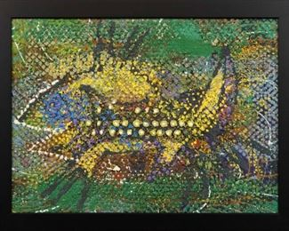 """""""Yellow Spotted Beast"""", 1957. Acrylic & Marble Dust on Board entitled """"Yellow Spotted Beast"""". No visible signature, dated 1957. Image measures 29 ¼"""" x 21¼"""" high, framed 33 ½ """" x 25 ½"""". Reference #K.55"""