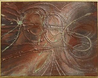 """""""Spun"""", 1957. Mixed Media on Board entitled """"Spun"""". No visible signature, dated 1957. Image measures 13"""" x 10"""" high, framed 13 ¼ """" x 10 ¼"""" . Reference #K.58"""