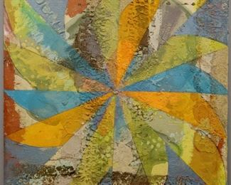 """""""Wind Wheel"""", 1975. Acrylic & Silica on board mounted on fabric, entitled """"Wind Wheel"""". Signed verso, dated 1975. Measures 33 ½ """" x 33 ½ """" high, unframed. Reference # K.1"""
