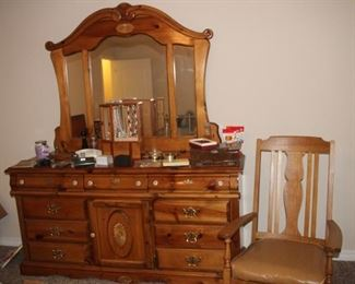 Pine dresser and mirror, Oak rocking chair