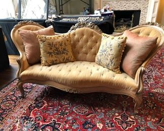 Antique Victorian Rose Carved Parlor Sofa.