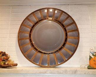 Large round mirror. Very striking!
