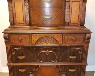 Gorgeous Art Deco Antique Highboy Dresser with Bakelite handles