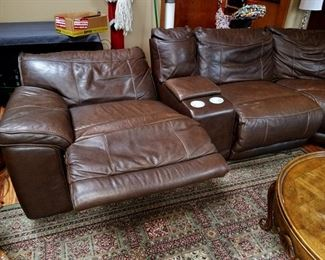 Leather power reclining sectional sofa with all the bells and whistles!