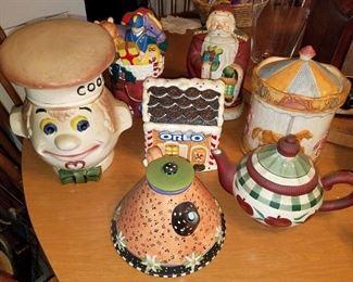 Cookie Jars and decorative teapots. Some are vintage. Vintage Treasure Craft Horse Carousel Cookie Jar. Oreo cookie jar