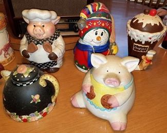 Cookie Jars and decorative teapots. Some are vintage