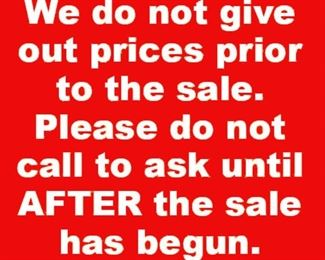 Dont call for prices