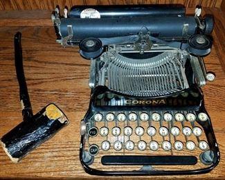 Antique Corona typewriter and gavel