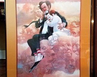 Robert Owen framed clown art