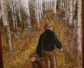 Acrylic  Dog, Dad and Son, Birch trees in Fall