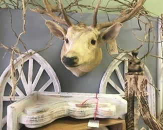 Taxidermy, Lots Church window decor, Corbels, watering cans Divider wall on wheels