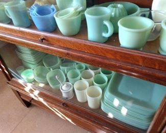 JADEITE GLASSWARE.  LAWYER'S CABINET IS NOT FOR SALE.