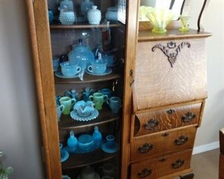 VINTAGE GLASS WARE.  SECRETARY IS FOR SALE ALSO