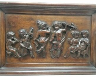 Carved Wood Panel w/ Putti Figures