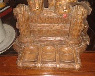 Antique carved dog bookends desk organizer