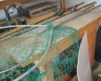 Fishing rods and nets.