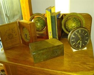 Vintage decor and globe bookends.