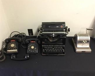 Antique Typewriter, Paymaster, and Rotary Phones