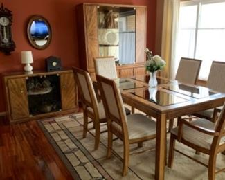table 6 chairs two leaves with China cabinet and Small buffet