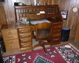 Roll Top Desk & Chair