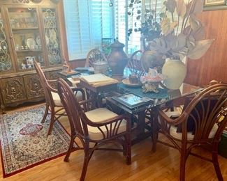 1970s Rattan table with chairs, dining room table, rug, copper vases