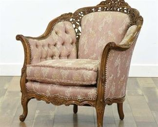 Carved Victorian Pink Tufted Armchair