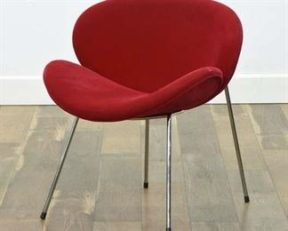 Modernist Molded Red Curved Accent Chair