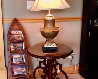 Terry Redlin Collector's Piece; end table with protective glass too; lamp.