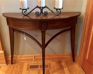 Console table, Longaberger Wrought Iron candelabra.