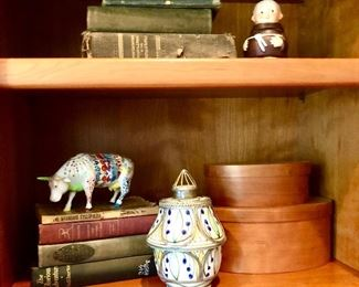 Antique books; Goebel Friar Tuck, Moroccan jar; Shaker style nesting boxes,