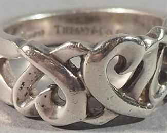 Tiffany & Co Palerma Picassa Sterling Silver Double Heart Ring, Size 5 1/2